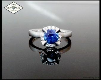 Lotus Halo Sapphire Ring in White Metal