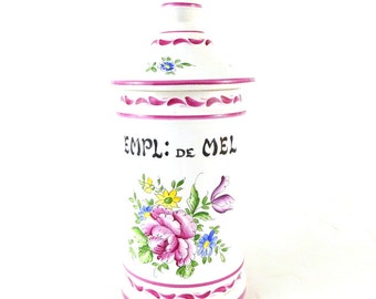 French Vintage Apothecary Jar / Vintage hand painted ceramic jar / Vintage Bathroom Canister