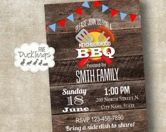 BBQ Invitation, Picnic invite, Neighborhood bbq, block party, Printable Digital invite, A334