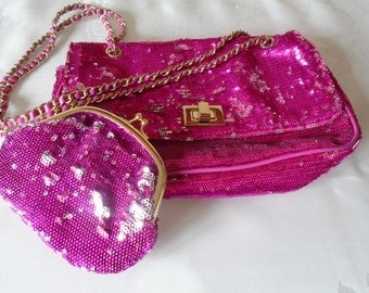 bright pink/silver sequin handbag and matching coin purse