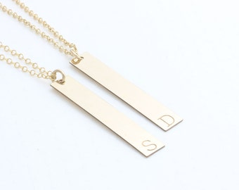 gold filled personalized vertical long bar necklace, nameplate necklace, coordinates necklace, initial necklace, wedding gift, bridemaids