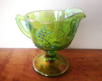 Creamer Pitcher. Carnival Glass Green Indiana glass. 1960's Harvest Grape Pattern