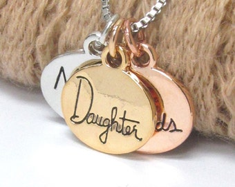 Love message triple pendant necklace mother daughter friends