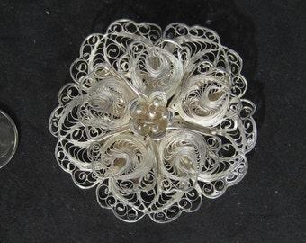 Amazing Vintage Sterling Silver Filigree Brooch Lace Flower Designer Style