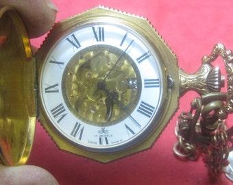 Vintage  swiss 17 jewel watch with pocket watch fab it works fine