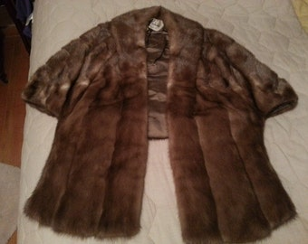 Vintage Mink Stole Medium Brown Cape Syle With Front Panels