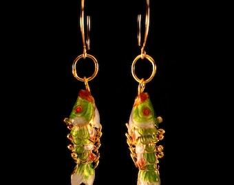 Cloisonne Fish Earrings- Green
