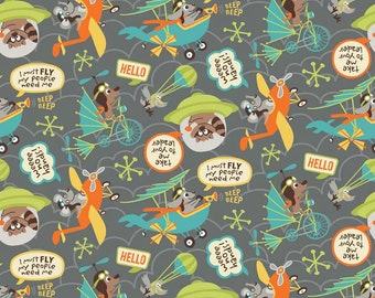 Little Flyers - Beep Gray - Riley Blake - Kelly Panacci - Flying Raccoons - 100% Cotton Fabric- C4571 - Airplane Fabric - Animal Fabric