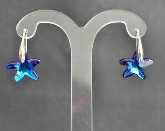 Crystal earrings and swarovski starfish 925 bermuda blue 16 mm