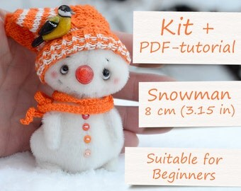 """Complete Sewing Kit """"Miniature Snowman"""" by ABCbears (8 cm / 3.15 in). Teddy Toy E-Pattern Included"""