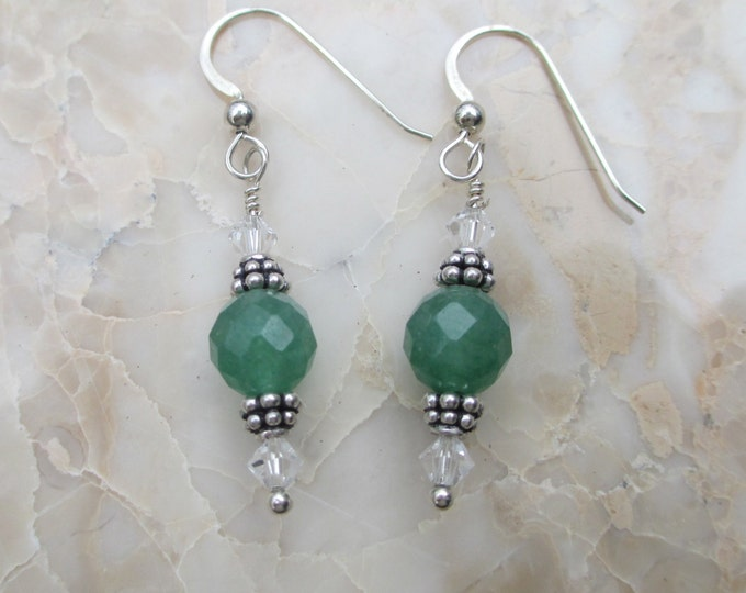 handmade green quartz earrings with clear Swarovski crystals and sterling silver spacer beads on steeling silver ear wire