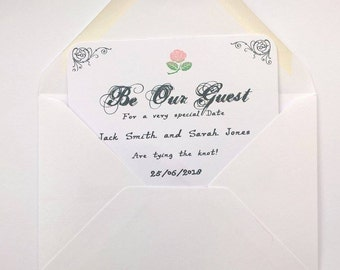 Be our guest save the date card invites, beauty and the beast wedding, save the date invitations.