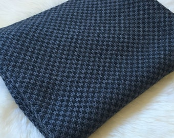 Knitted Baby Blanket - 100% Australian wool - Smoke and Charcoal - 90 x 80 cm - machine washable - perfect baby shower gift