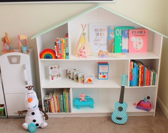 Kid's Bookcase (wide version) -- Designed to resemble a Dollhouse!