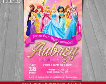 Disney Princess Invitation - Disney Princesses Invite - Disney Princess Birthday Invitation Party - Cinderella Ariel Aurora Belle Anna Elsa