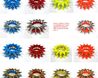 Color & Metallic Plastic Beaded Punk Spikes Elastic Stretch Bracelet (Set of 3)