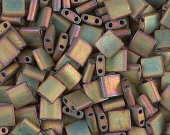 Tila Bead- Metallic Matte Khaki Iris  #2035  Miyuki Tila Beads - 10 grams