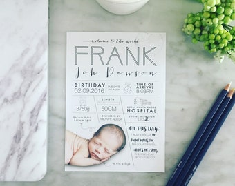 Baby Birth Announcement | Custom Infographic | Personalised Digital File 5x7 | A
