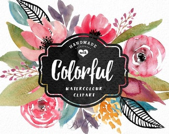 Colorful watercolor clipart, handpainted floral