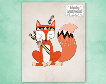 Printable Tribal Woodland Fox Nursery Wall Art Decor Baby Child Kids ~ DIY Instant Download ~ 1 11x14 Print