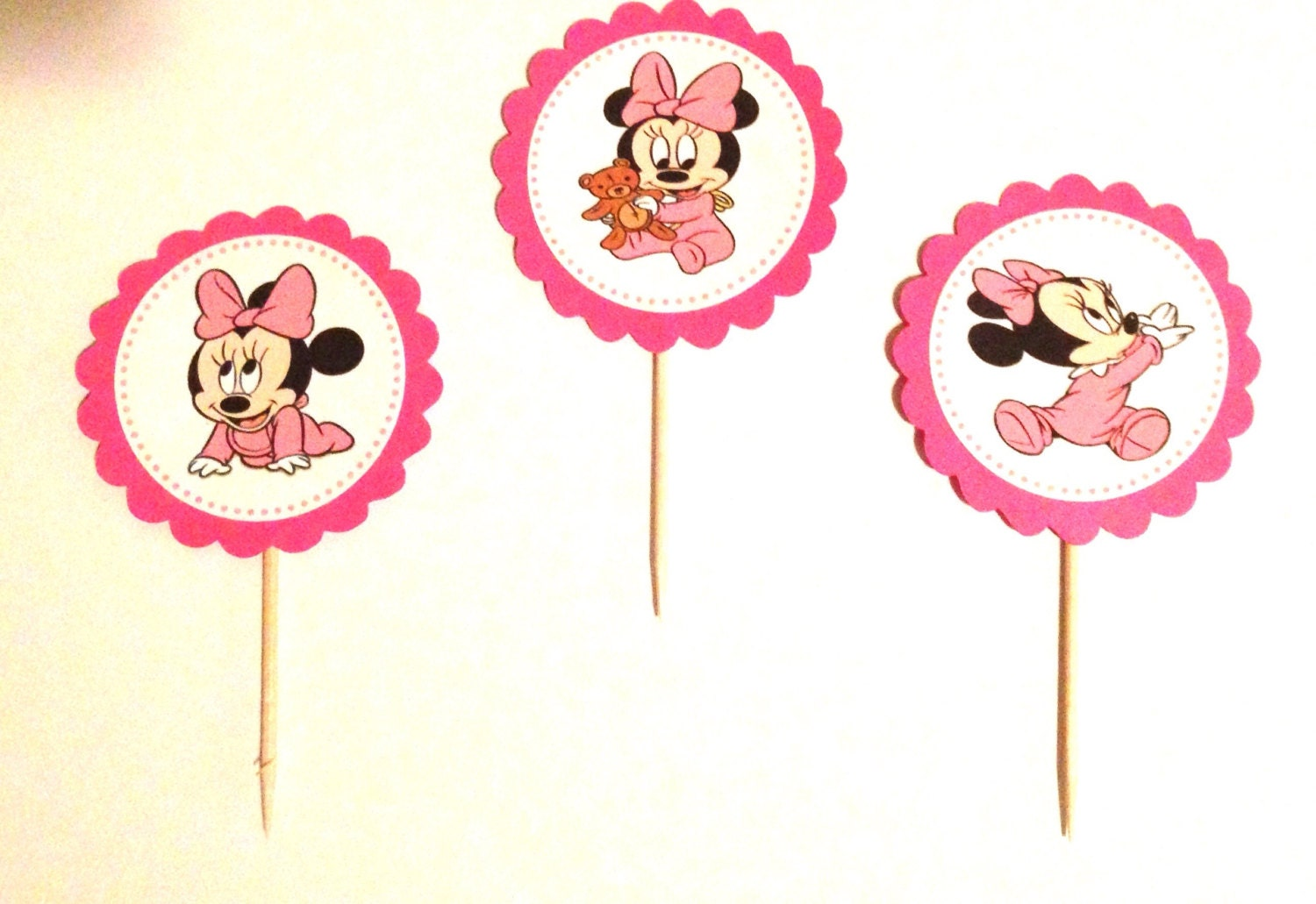 Baby minnie mouse party decorations 12 minnie mouse cupcake for Baby minnie mouse party decoration