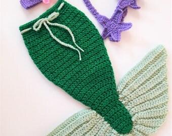 Crochet Baby Mermaid Outfit Mermaid Tail Mermaid Photo Prop Mermaid Baby