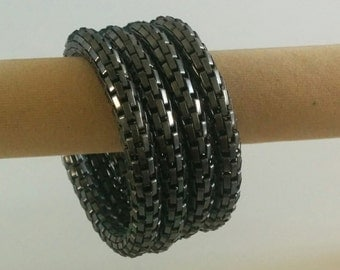 Black Spiral Metallic 4 layer Bracelet