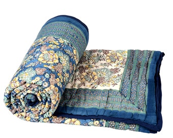 Single Bed Hand Block Printed Blue Color Quilt in Floral Design Size 60x90 Inch