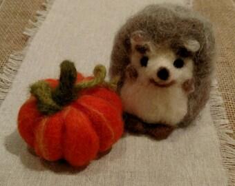 Wool Hedgehog, wool felted, wool hedgehog and Pumpkin Set!