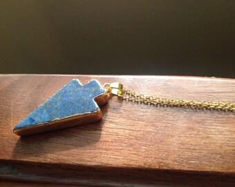 Blue Tourmaline Arrowhead Pendant with 18 Karat Gold Plated Border