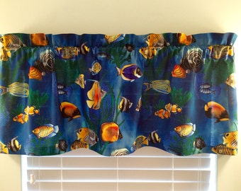 Window Valance-Tropical Fish Fabric-Beach Curtains-Lake Curtains-Fish Decor-Nautical Curtains-Coastal Curtains-Tropical Decor