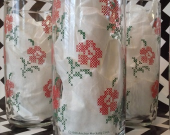 c.1988~Ancor Hocking~Cross Stitch Pink Flowers~Blooms~Set of 9~16oz~Glass Tumblers~Glassware~Barware~Pink