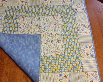 Animal and alphabet quilt - blue, green, yellow and white