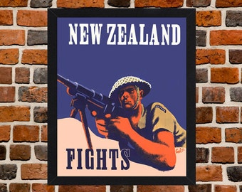 Framed New Zealand Fights Second World War Propaganda Poster A3 Size Mounted In Black Or White Frame