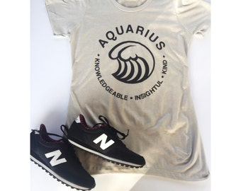AQUARIUS - What's Your Sign Tee in 2 Colors slim-fit Indigo Blue or Sand
