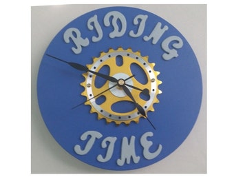 Riding Time Bicycle Sprocket Clock - Blue Base 8.5 inches