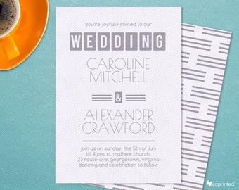 Bold Title Wedding Invitation - modern, poster, stripes, calendar, writing, bold, typography, wedding, invitation, template, retro, clean