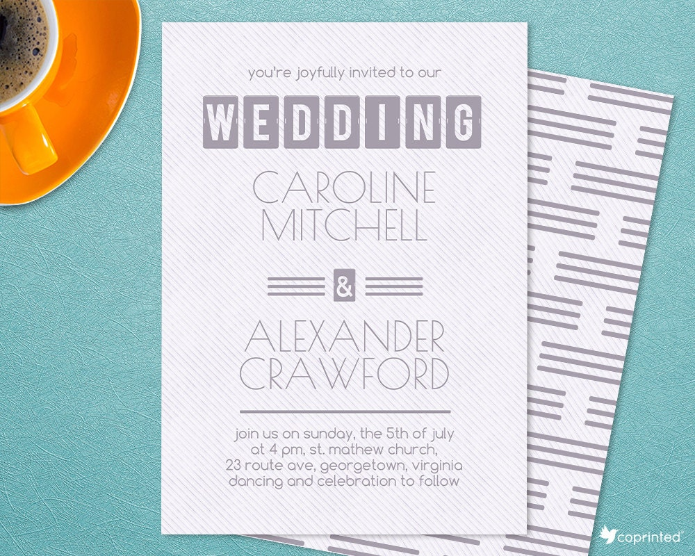 Bold Title Wedding Invitation Modern Poster Stripes