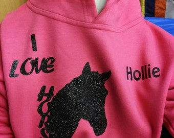 Child's I love horses hoodie ,personalised with name.
