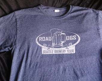 Road Dogs Seattle Brewery T-shirt,Blue Men and Womens Beer T-Shirt, Washington Microbrewery Tour T-Shirt, Microbrew Apparel, Beer Shirts