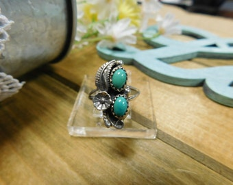 Sterling Silver Double Turquoise Stone Ring