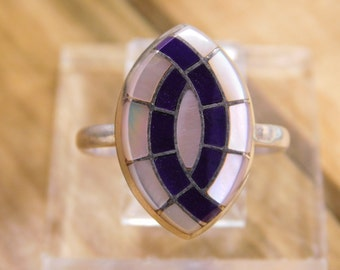 Zuni Sugilite and Mother of Pearl Sterling Silver Ring