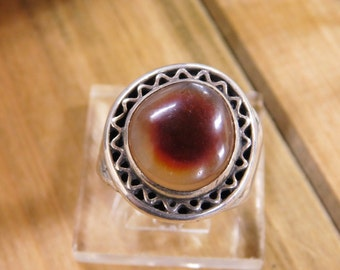 Sterling Silver Ring with Fire Agate Size 9 1/4