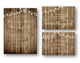 Rustic Wood Wedding Invitation Suite Digital Download