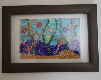 Beaded picture of aquarium with fish, seaweed and coral, framed