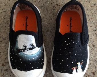 Baby shoes, Custom painted Christmas toddler shoes