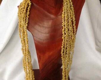 Vintage Handmade Six Strand Mongo Shell Lei Necklace - Mid-Century