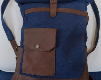 Canvas&Leather backpack with roll up / zaino in tela e pelle