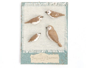 Sparrow Polymer Clay Push Pins