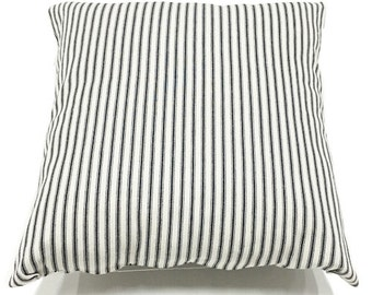 Navy French Ticking Accent Throw Pillow